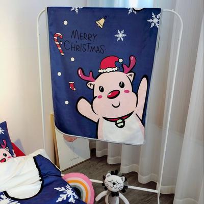 2018新款-圣诞款羊羔绒毛毯 80*130cm 麋鹿蓝