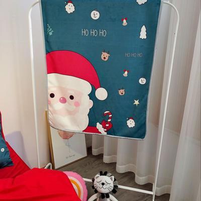 2018新款-圣诞款羊羔绒毛毯 80*130cm 圣诞老人绿