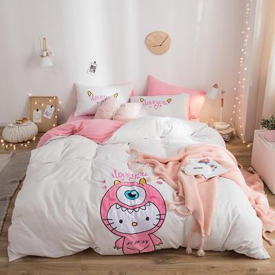 2019新款水洗棉大版贴布绣四件套 1.2m床三件套 猫咪