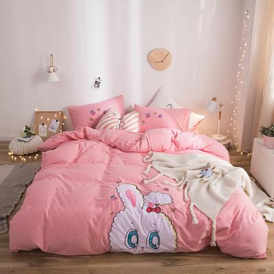 2019新款水洗棉大版贴布绣四件套 1.2m床三件套 兔兔
