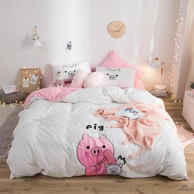 2019新款水洗棉大版贴布绣四件套 1.2m床三件套 小猪