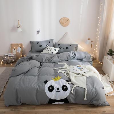 2019新款水洗棉大版贴布绣四件套 1.2m床三件套 熊猫