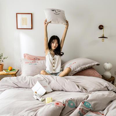 2019新款牛奶绒四件套 1.5m-1.8m床单款 鱼-咖