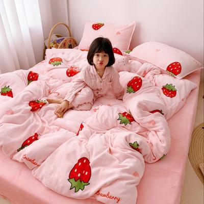 2019新款牛奶绒四件套 1.5m(5英尺)床单款 草莓