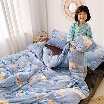 2019新款牛奶绒四件套 1.5m(5英尺)床单款 恐龙
