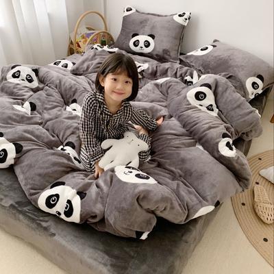 2019新款牛奶绒四件套 1.5m(5英尺)床单款 熊猫