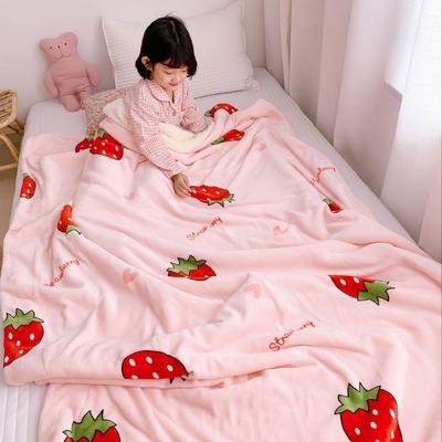 2019新款牛奶羊羔绒毯 150*200 草莓