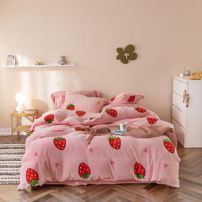 2019新款牛奶绒四件套棚拍图 1.5m床单款 草莓