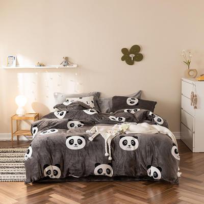 2019新款牛奶绒四件套棚拍图 1.5m床单款 熊猫