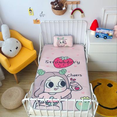 2020新款婴儿冰丝席2件套 枕套含荞麦芯 60*120 草莓女孩