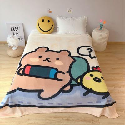 2020新款金貂绒双面毛毯-床拍图 150*200cm 大懒熊