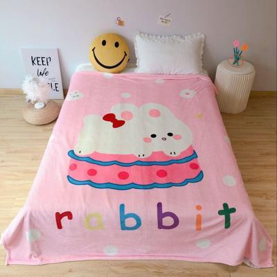2020新款金貂绒双面毛毯-床拍图 150*200cm 蛋糕兔