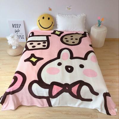 2020新款金貂绒双面毛毯-床拍图 150*200cm 奶茶兔