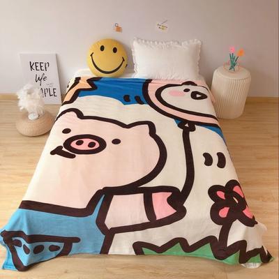 2020新款金貂绒双面毛毯-床拍图 150*200cm 气球猪