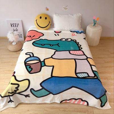 2020新款金貂绒双面毛毯-床拍图 150*200cm 小鳄鱼