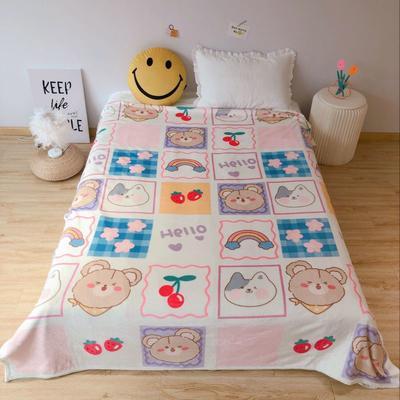 2020新款金貂绒双面毛毯-床拍图 150*200cm 小格子
