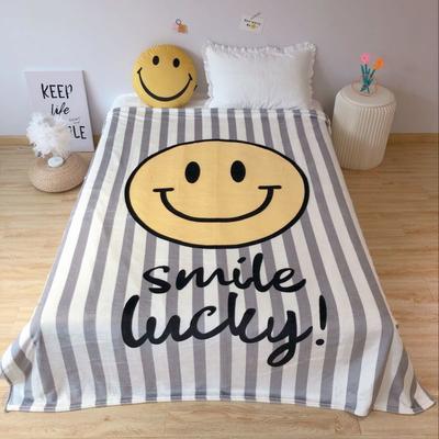 2020新款金貂绒双面毛毯-床拍图 150*200cm 笑脸