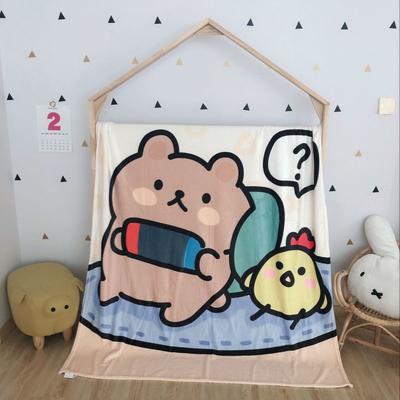 2020新款金貂绒双面毛毯-挂拍图 150*200cm 大懒熊