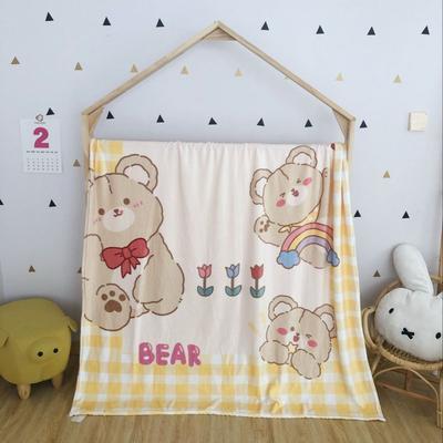2020新款金貂绒双面毛毯-挂拍图 150*200cm 黄格熊