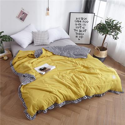 2019新款洛丽塔系列水洗棉夏凉被夏被 48x74枕套一对 芥末黄