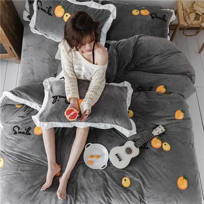 2019新款法莱绒加厚水晶绒公主边工艺毛巾绣四件套绒四件套 1.5m-1.8m床四件套(床单款) 小橘子灰