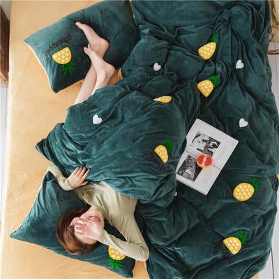 2019新款加厚水晶绒法莱绒毛巾绣四件套绒四件套 1.5m-1.8m床四件套(床单款) 菠萝绿