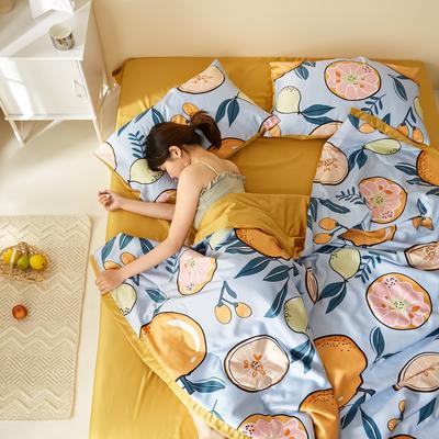 2020新款水洗真丝印花夏被四件套三件套 单品枕套48X74cm/对 吉祥桔