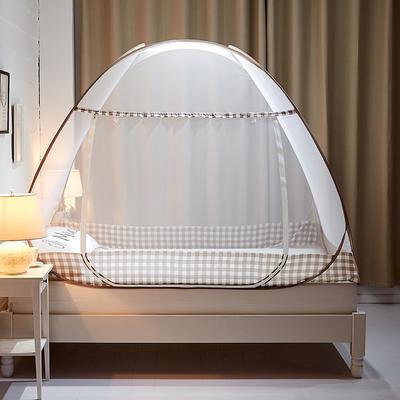 钢丝蚊帐-四叶草 1.2m(4英尺)床 格韵-浅咖
