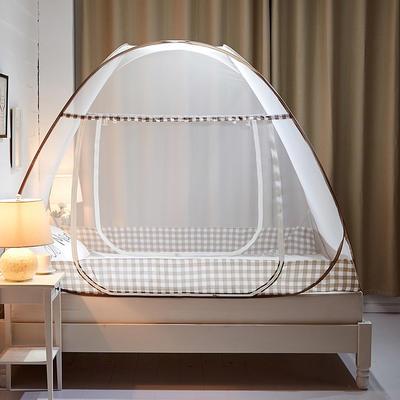 钢丝蚊帐-四叶草 1.2m(4英尺)床 格韵-浅咖1