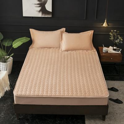 2018新款-素色水晶绒夹棉床笠 120*200 自然驼