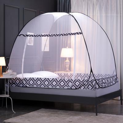 2020新款-钢丝蚊帐(巴洛克-黑色) 1.2米床(单门送风扇杆) 巴洛克-黑色