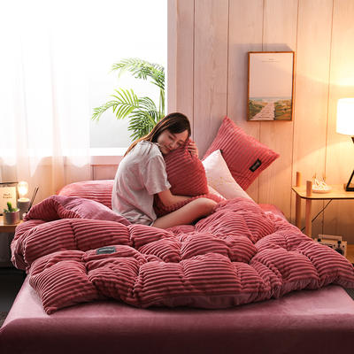 2019新款-魔法绒水晶绒四件套 床单款四件套1.5m(5英尺)床 豆沙