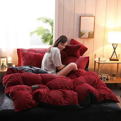 2019新款-魔法绒水晶绒四件套 床单款四件套1.5m(5英尺)床 酒红假日