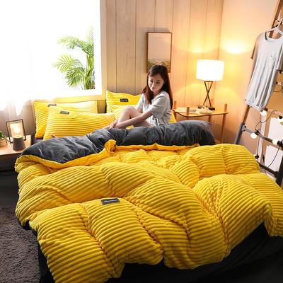 2019新款-魔法绒水晶绒四件套 床单款四件套1.5m(5英尺)床 柠檬黄