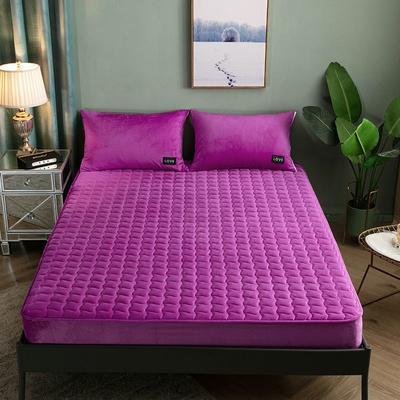 2019新款水晶绒素色夹棉床笠 150*200cm 高贵紫