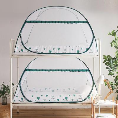 2020新款-学生免安装蚊帐单门全底 90cm*195cm*112cm(学生床宽门) 暖心-绿