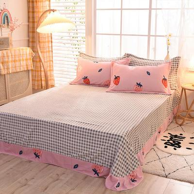 2020新款-牛奶绒单床单 200*230cm 草莓奶昔
