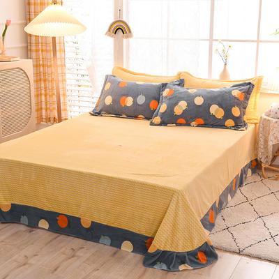 2020新款-牛奶绒单床单 200*230cm 橘子花开
