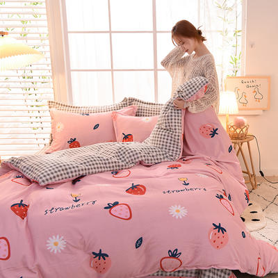 2020新款-牛奶绒四件套 0.9m床单款三件套 草莓奶昔