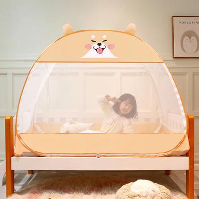 2021新款儿童蒙古包蚊帐 150cm*80cm*125cm(三门) 小柴犬-黄