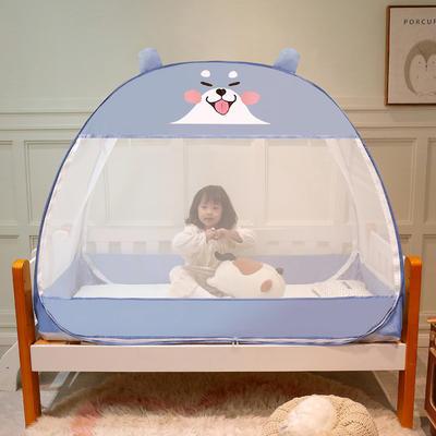 2021新款儿童蒙古包蚊帐 150cm*80cm*125cm(三门) 小柴犬-蓝