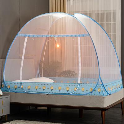 2021新款免安装蒙古包蚊帐—向日葵系列 120cm*195cm单门 向日葵-蓝色