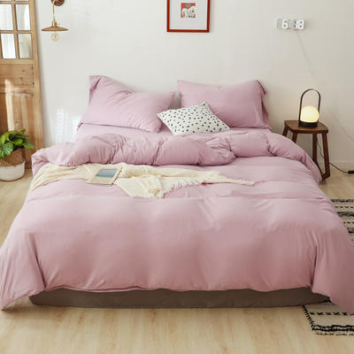 2020新款天竺棉纯色四件套针织棉三件套纯棉套件 1.2m床单款三件套 淡紫