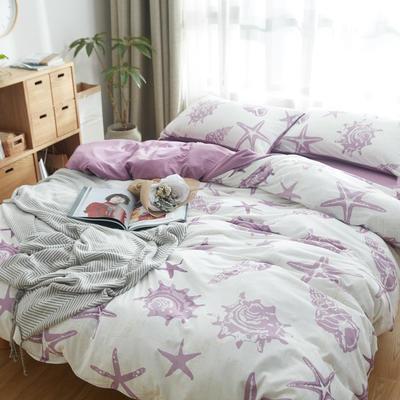 2019新针织印花四件套 1.5m床单款四件套 海星-白紫