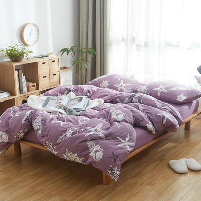 2019新针织印花四件套 1.5m床单款四件套 海星-浅紫