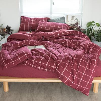 2019新针织印花四件套 1.5m床单款四件套 红格