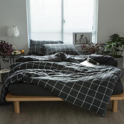 2019新针织印花四件套 1.5m床单款四件套 碳黑格