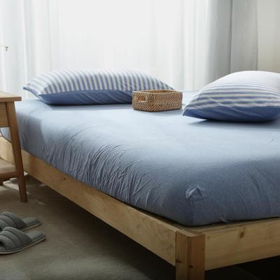 2019新款针织条纹床笠 120cmx200cm 蓝白中条
