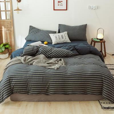 2019针织棉条纹单被套天竺棉单床笠纯棉床单全年枕套 单枕套48cmx74cm 浅粉中条