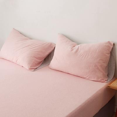 2019针织棉条纹单被套天竺棉单床笠纯棉床单全年枕套 枕套一对48cmx74cm 粉灰细条